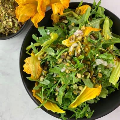 ARUGULA SALAD WITH SQUASH FLOWERS