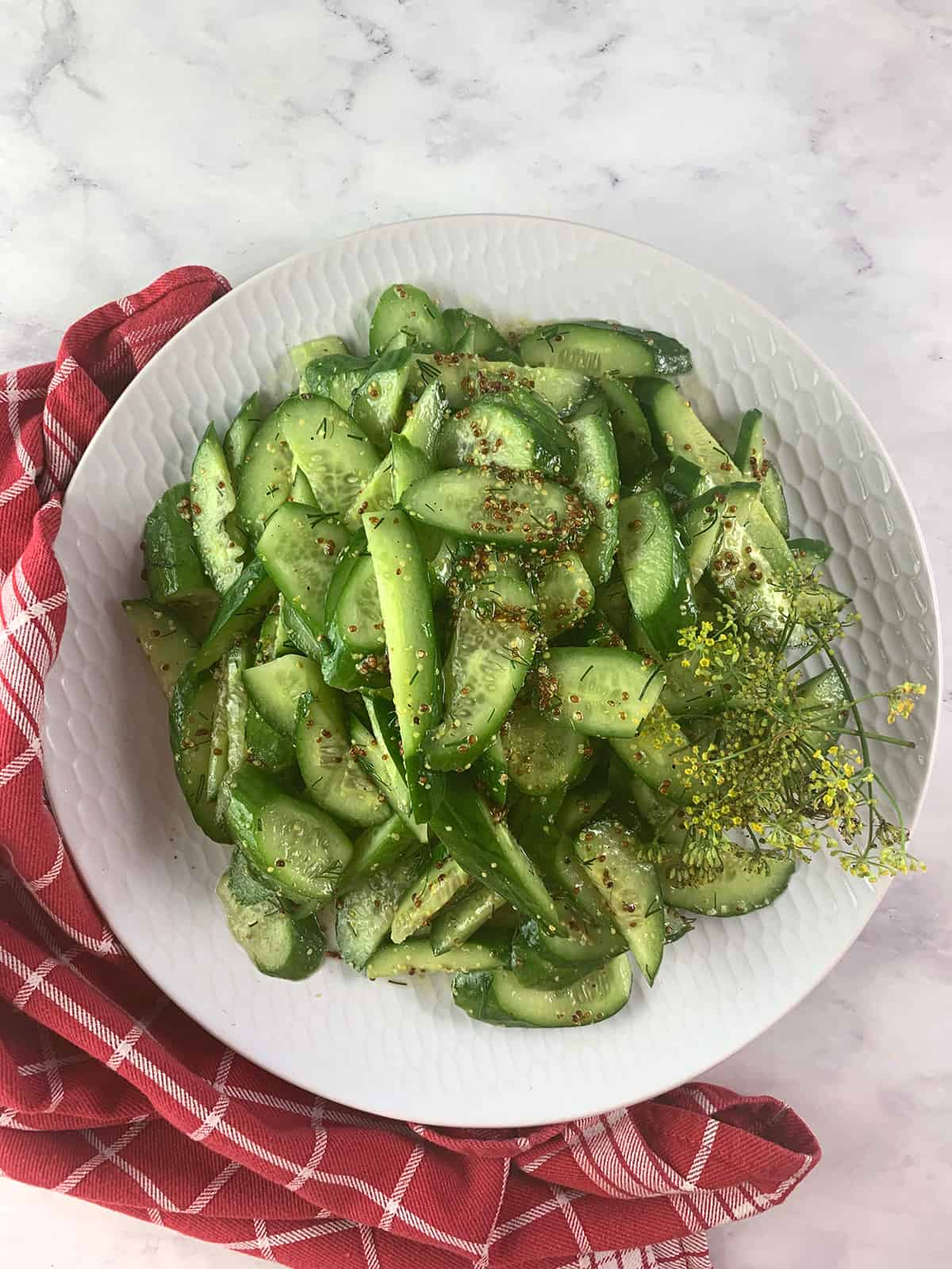 vegan cucmber with dill and whole grain mustard salad