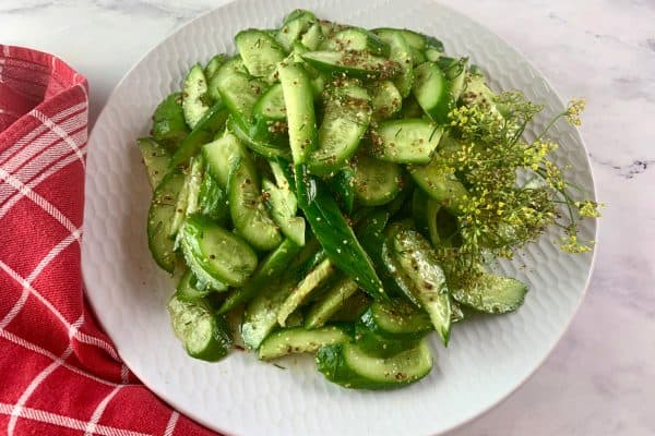 CUCUMBER WITH DILL SALAD IN LANDSCAPE