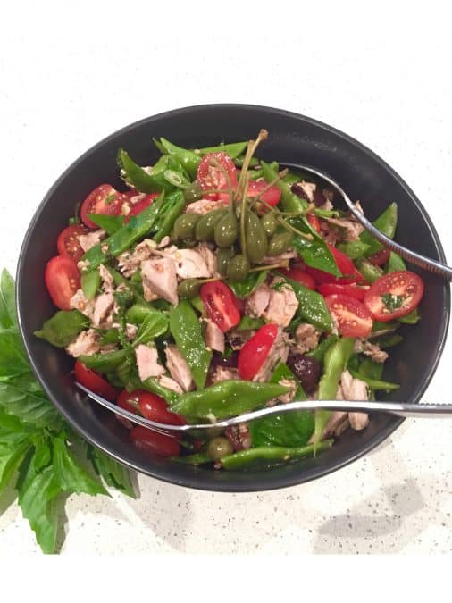 Grilled Tuna Salad with Flat Beans, tomatoes and caperberries