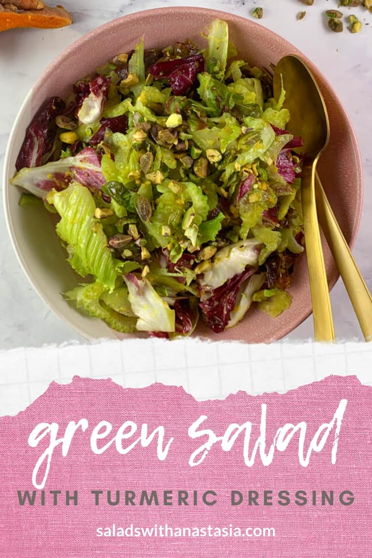 PINTEREST - MIXED GREEN SALAD WITH HEALING TURMERIC DRESSING