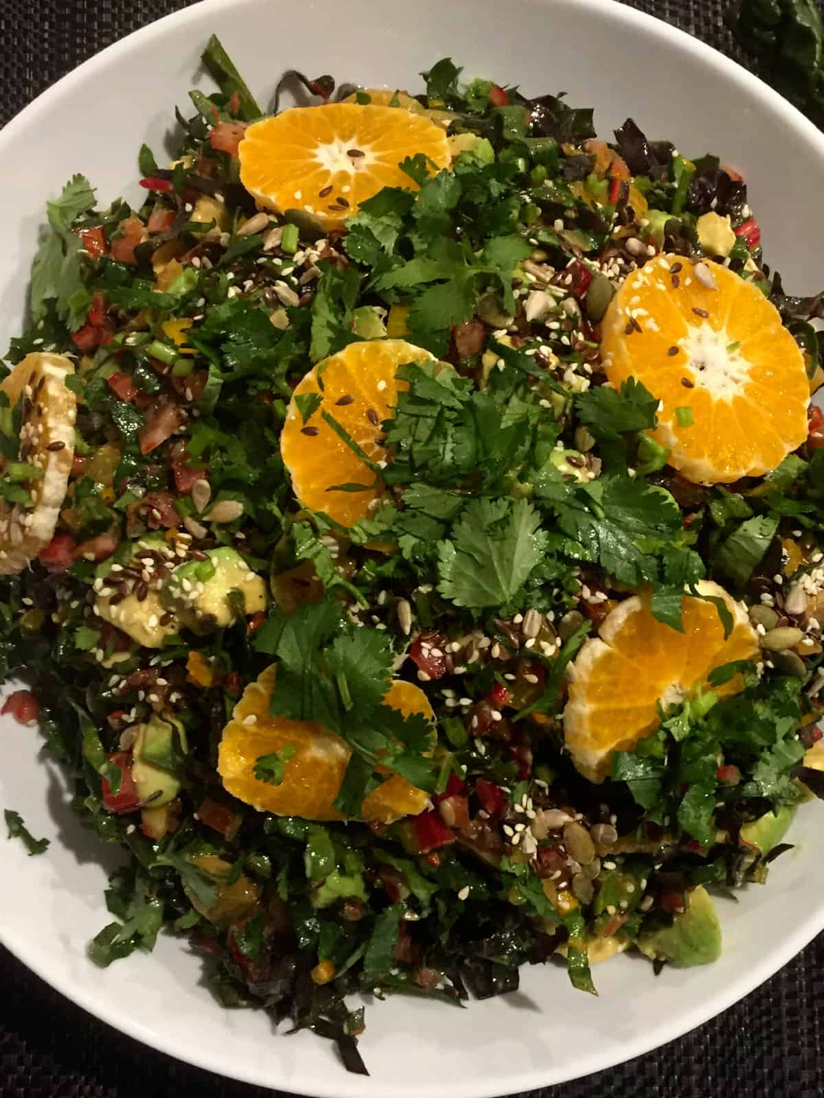 Rainbow Chard Salad With Avocado Mandarin Seeds Salads With Anastasia