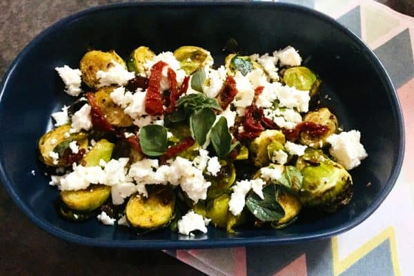 ROASTED BRUSSELS WITH FETA AND OREGANO