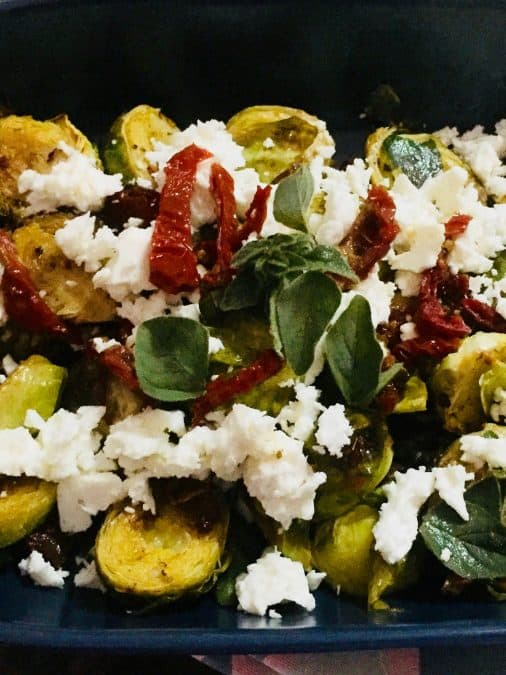 CLOSE UP OF GREEK ROASTED BRUSSELS SPROUT SALAD