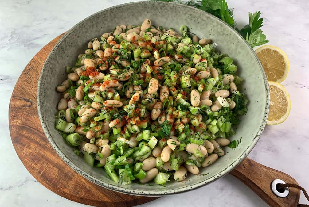 WHITE BEAN SALAD IN LANDSCAPE VIEW