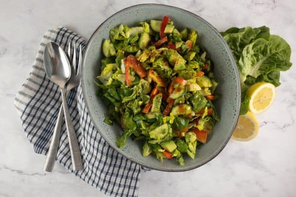 GEM LETTUCE SALAD WITH COLOURFUL VEG & AVOCADO