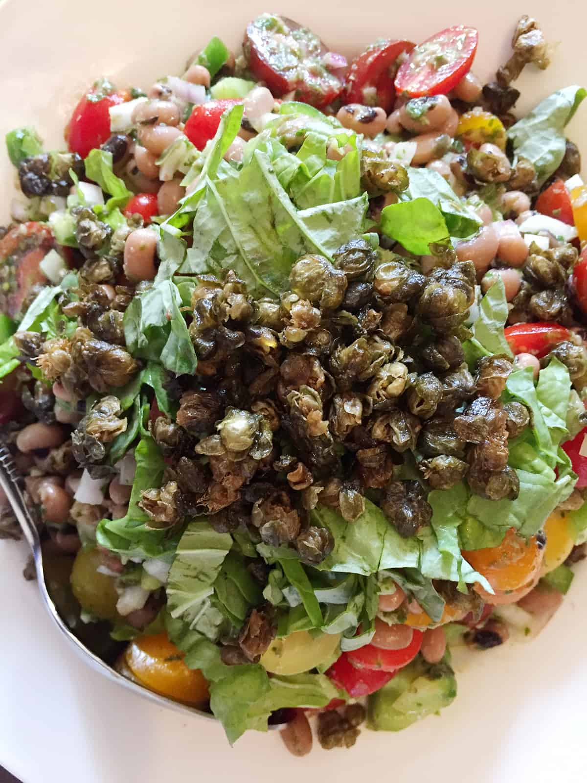 Canned Black-Eyed Peas, Tomato & Crispy Capers