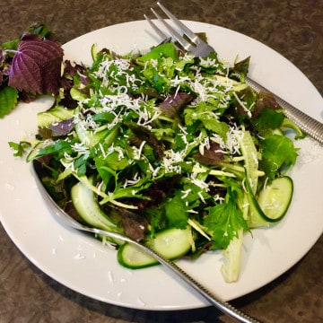 GREEN MANGO SALAD WITH ASIAN PURPLE MINT AND GREEN GODDESS DRESSING