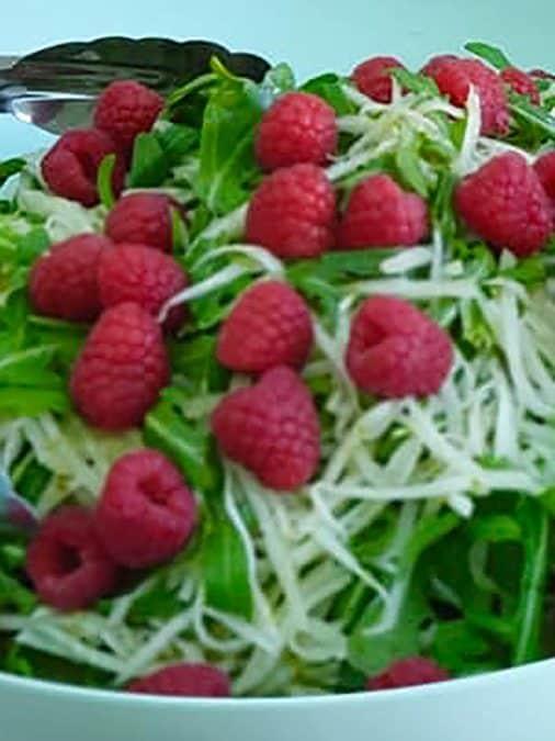 Kohlrabi Salad with Raspberries & Lime
