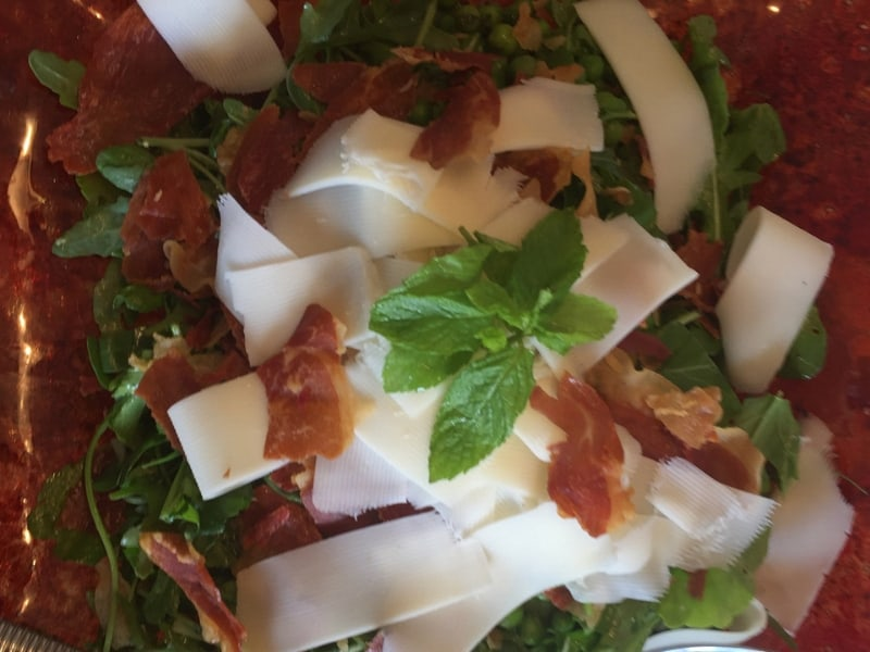 Minty English Pea Salad with Prosciutto and Provolone