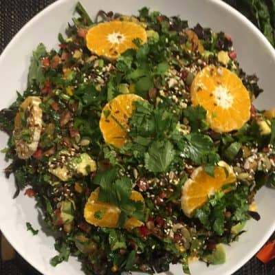 RAINBOW CHARD SALAD WITH AVOCADO, MANDARINS AND SEEDS