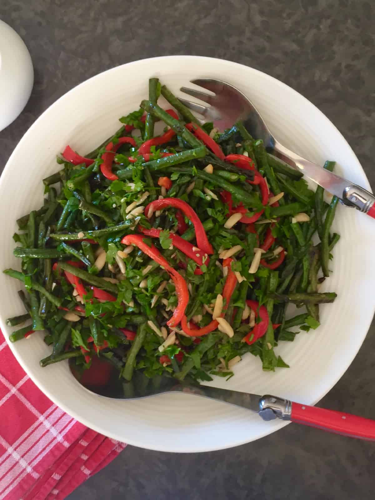 LONG Beans with & Red Capsicum and Almonds