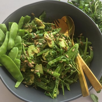 VERDANT SNOW PEA SALAD WITH AVOCADO, SEEDS & DIJON VINAIGRETTE