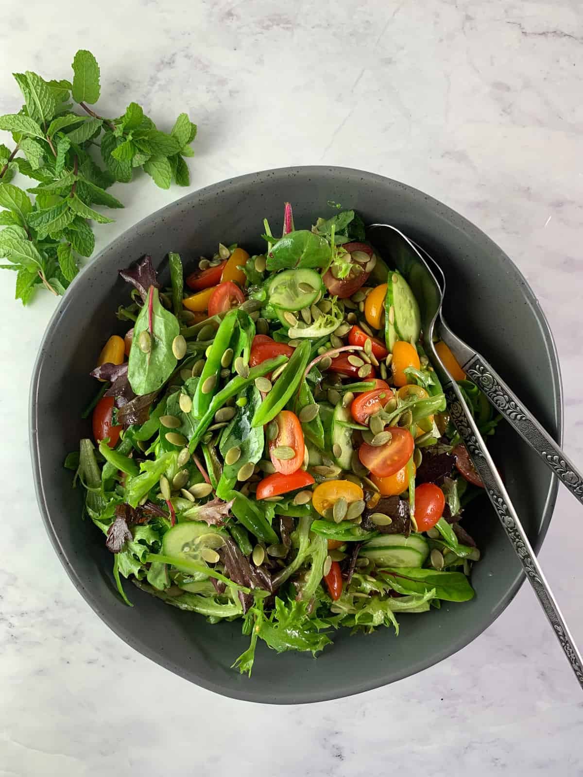 AERIAL VIEW OF SPRING MIX SALAD WITH PEAS, TOMATOES, CUCUMBERS AND SEEDS