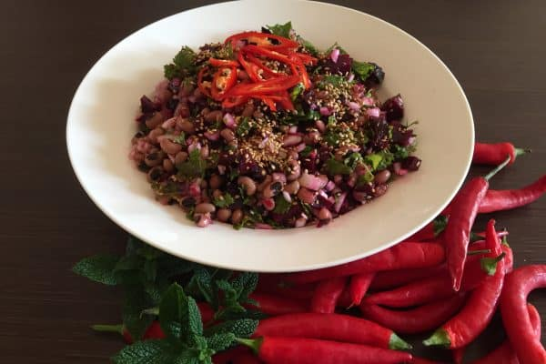 Vegan Beet Salad with Black Eyed Peas & Lime
