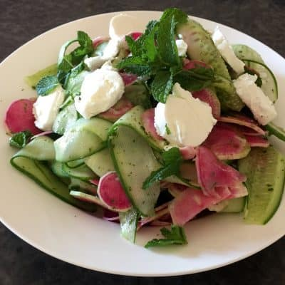 WATERMELON RADISH SALAD WITH CUCUMBER, GOATS CHEESE AND MINTY VINAIGRETTE