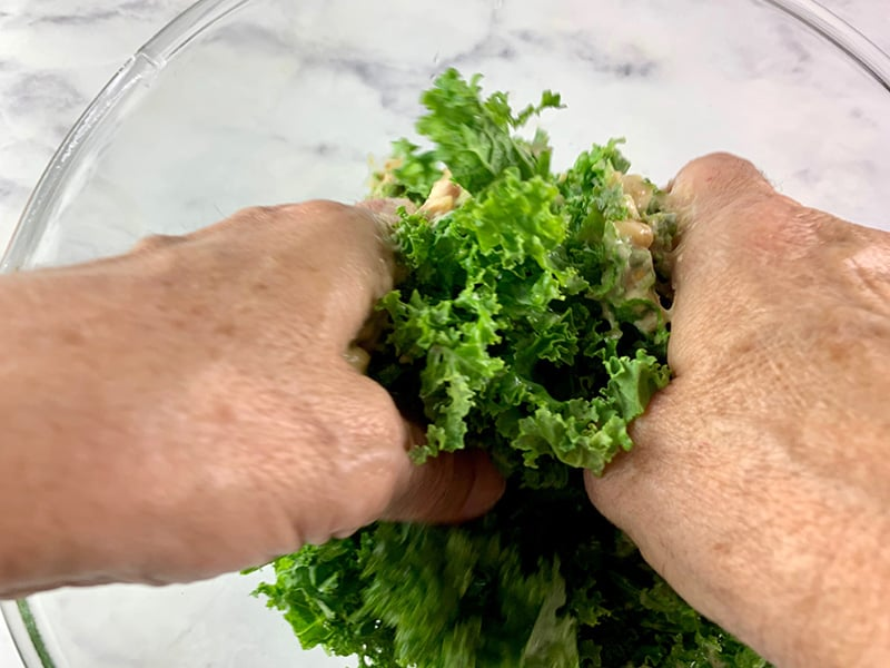 MASSAGING KALE WITH DRESSING