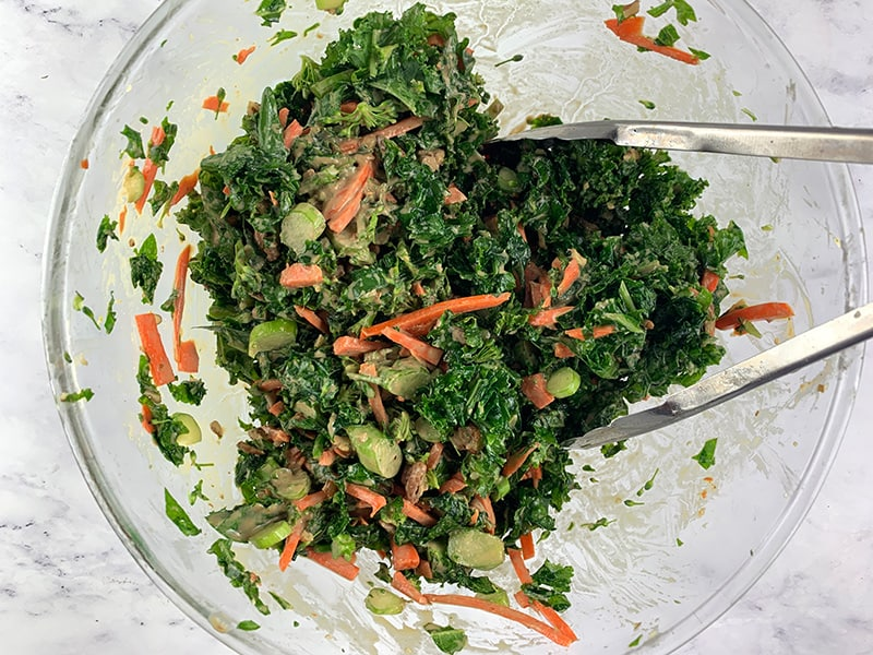 MIXING KALE AND BROCCOLI SALAD
