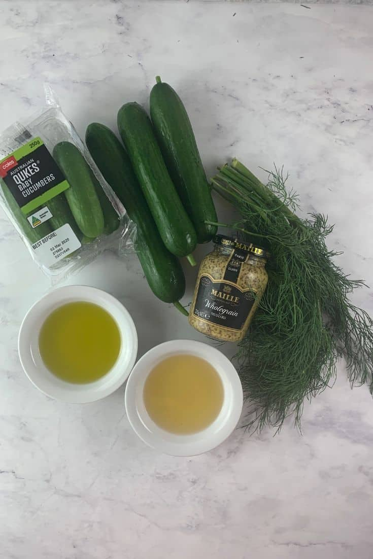 INGREDIENTS FOR VEGAN CUCUMBER SALAD WITH DILL AND WHOLE GRAIN MUSTARD