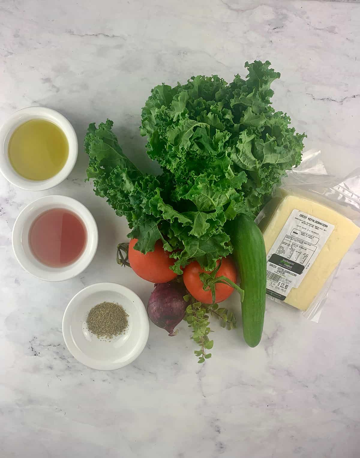 INGREDIENTS FOR CHOPPED KALE SALAD IN PORTRAIT