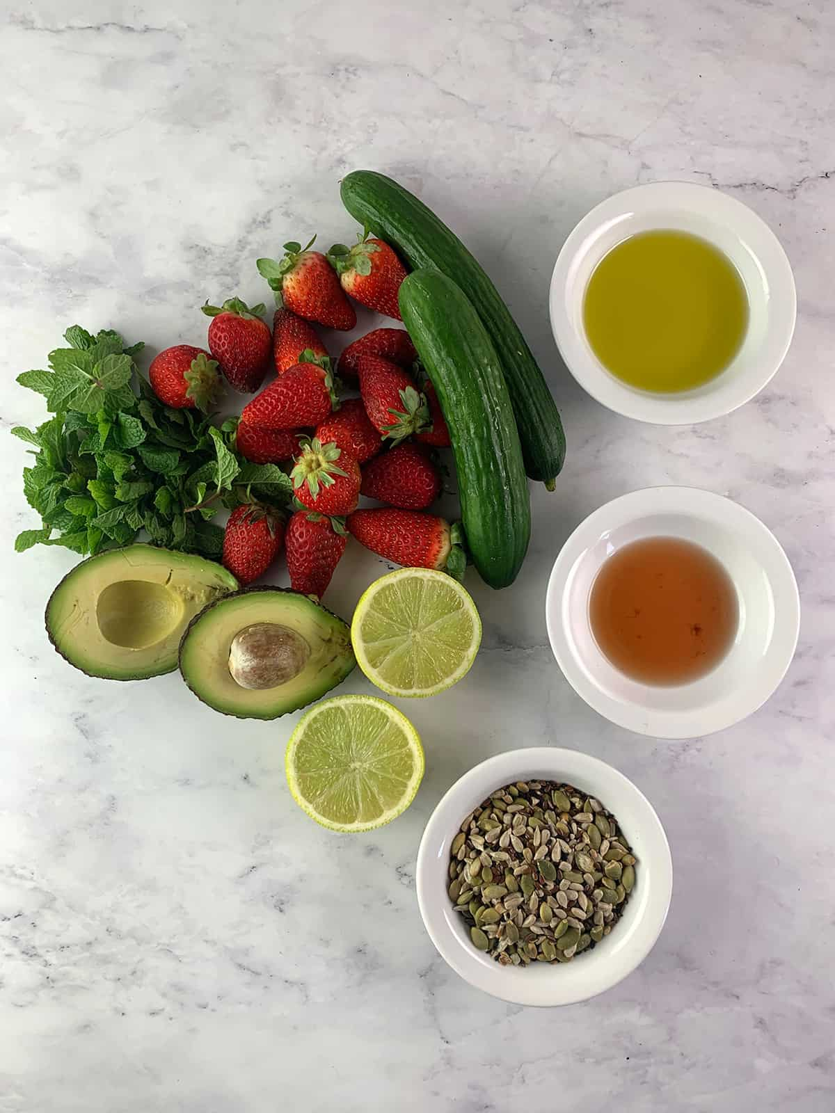 INGREDIENTS FOR CUCUMBER STRAWBERRY SALAD