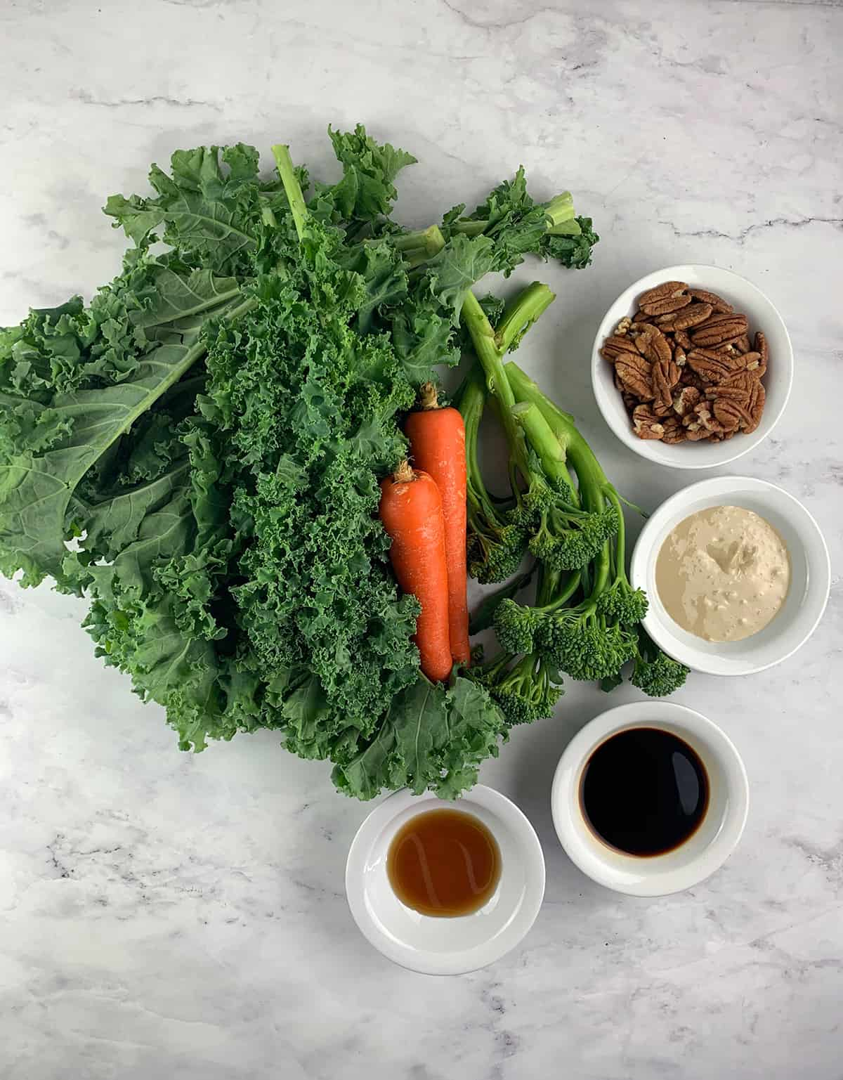 INGREDIENTS FOR KALE AND BROCCOLI SALAD