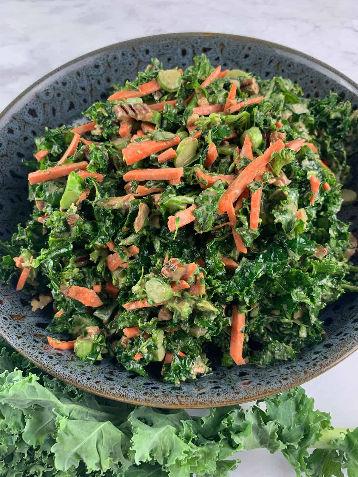 KALE AND BROCCOLI SALAD IN PORTRAIT