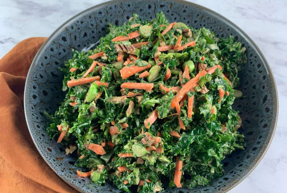KALE AND BROCCOLI SALAD IN LANDSCAPE