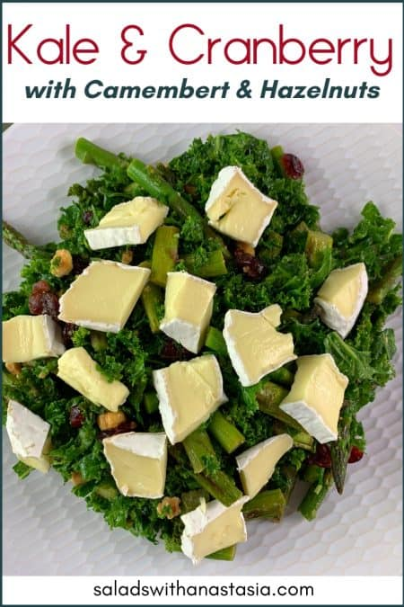 PINTEREST - KALE AND CRANBERRY SALAD WITH CAMEMBERT ON WHITE PLATE ON GREY BACKGROUND