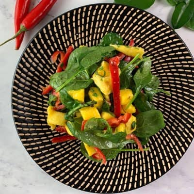 AERIAL VIEW THAI MANGO SALAD IN LANDSCAPE