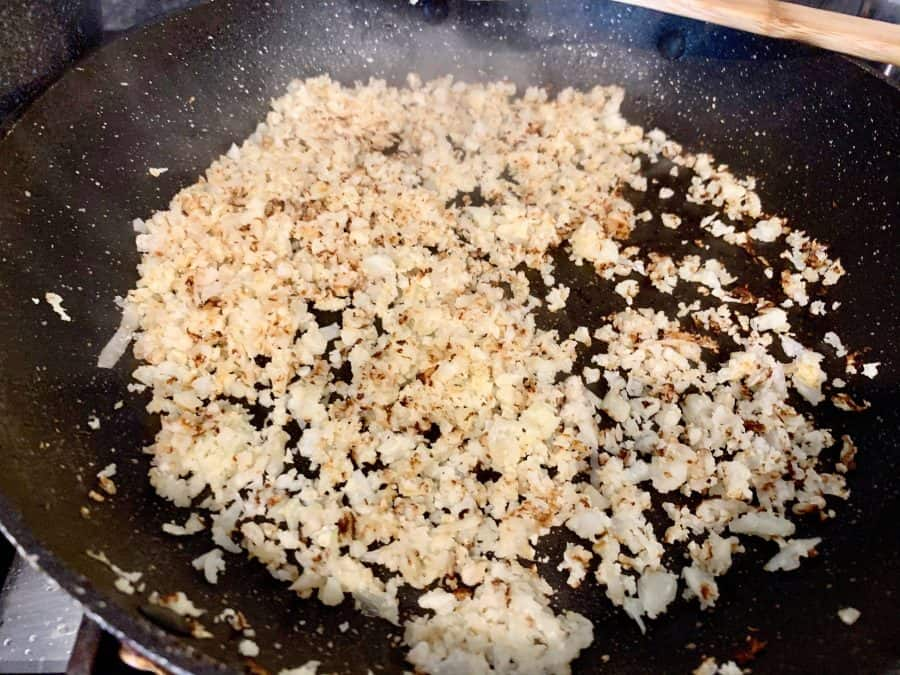 SAUTEEING RICED CAULIFLOWER IN BATCHES