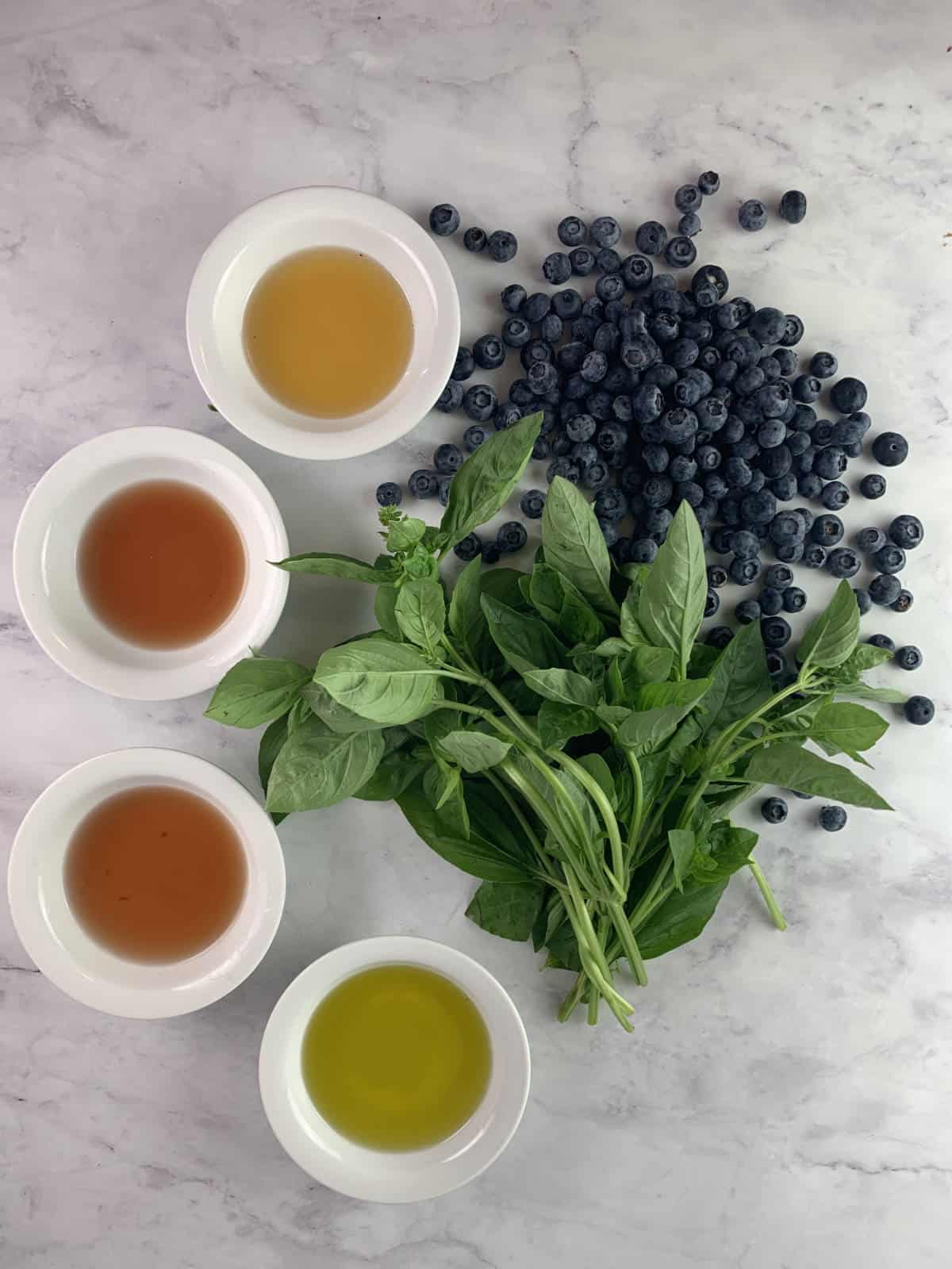 ingredients for blueberry basil dressing