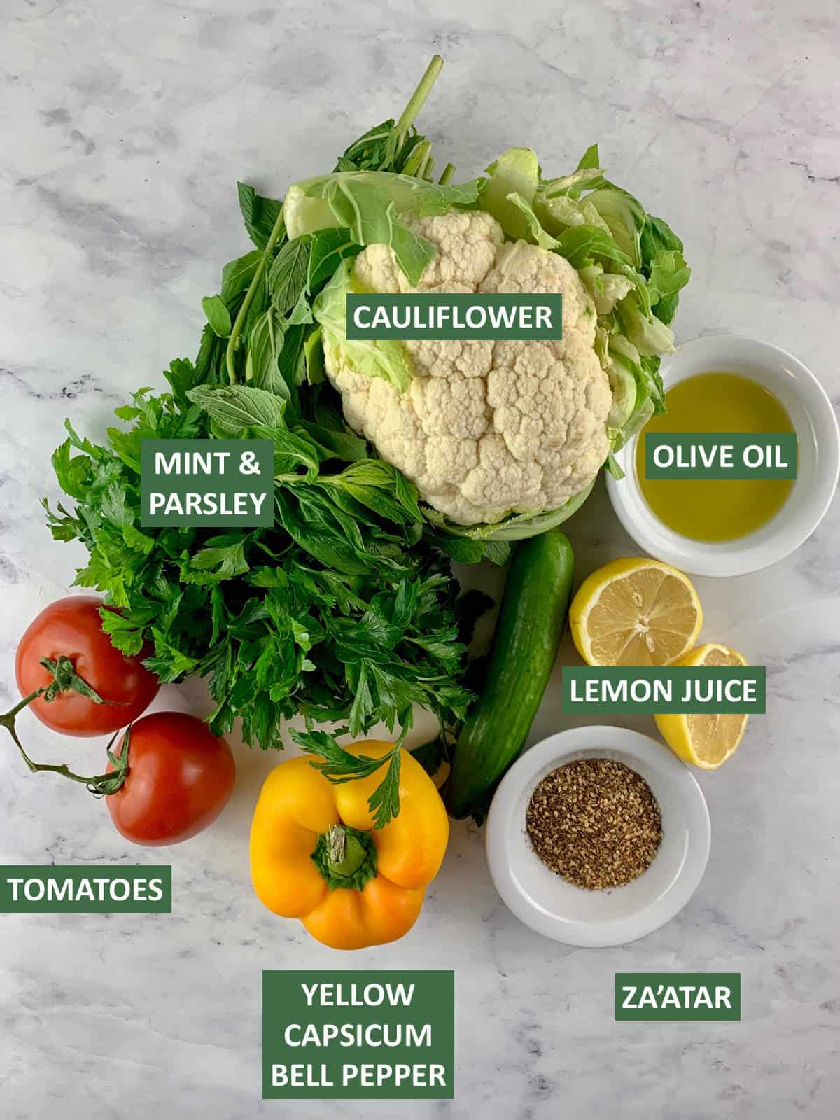 INGREDIENTS NEEDED TO MAKE CAULIFLOWER TABBOULEH