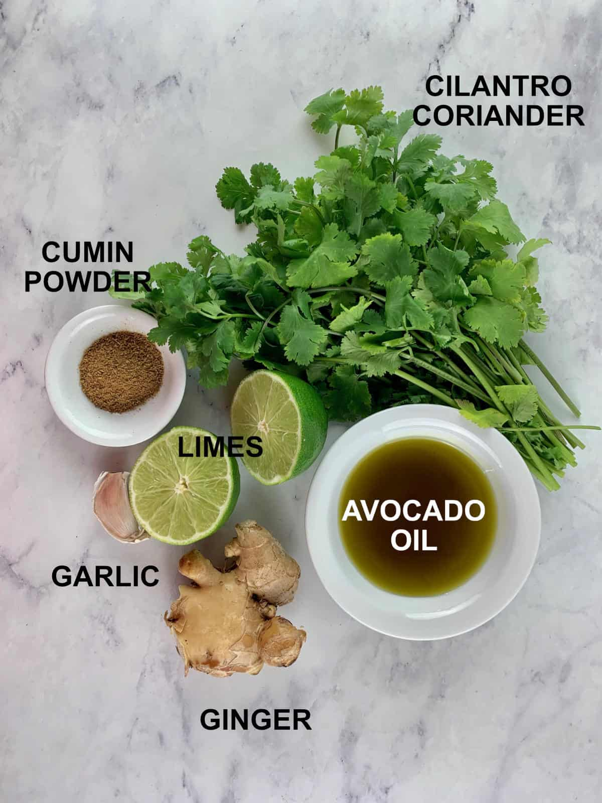 CILANTRO LIME DRESSING INGREDIENTS WITH TEXT
