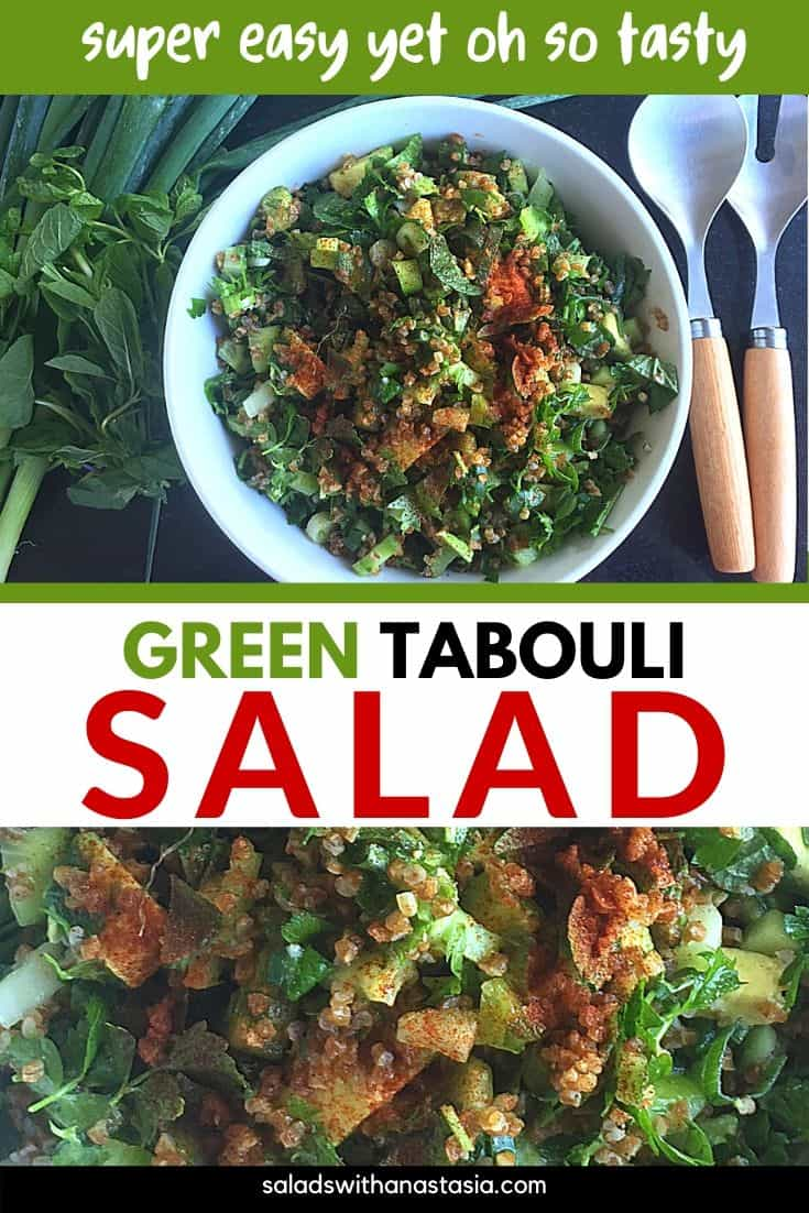 GREEN TABBOULEH SALAD AERIAL VIEW & CLOSE UP WITH TEXT OVERLAY