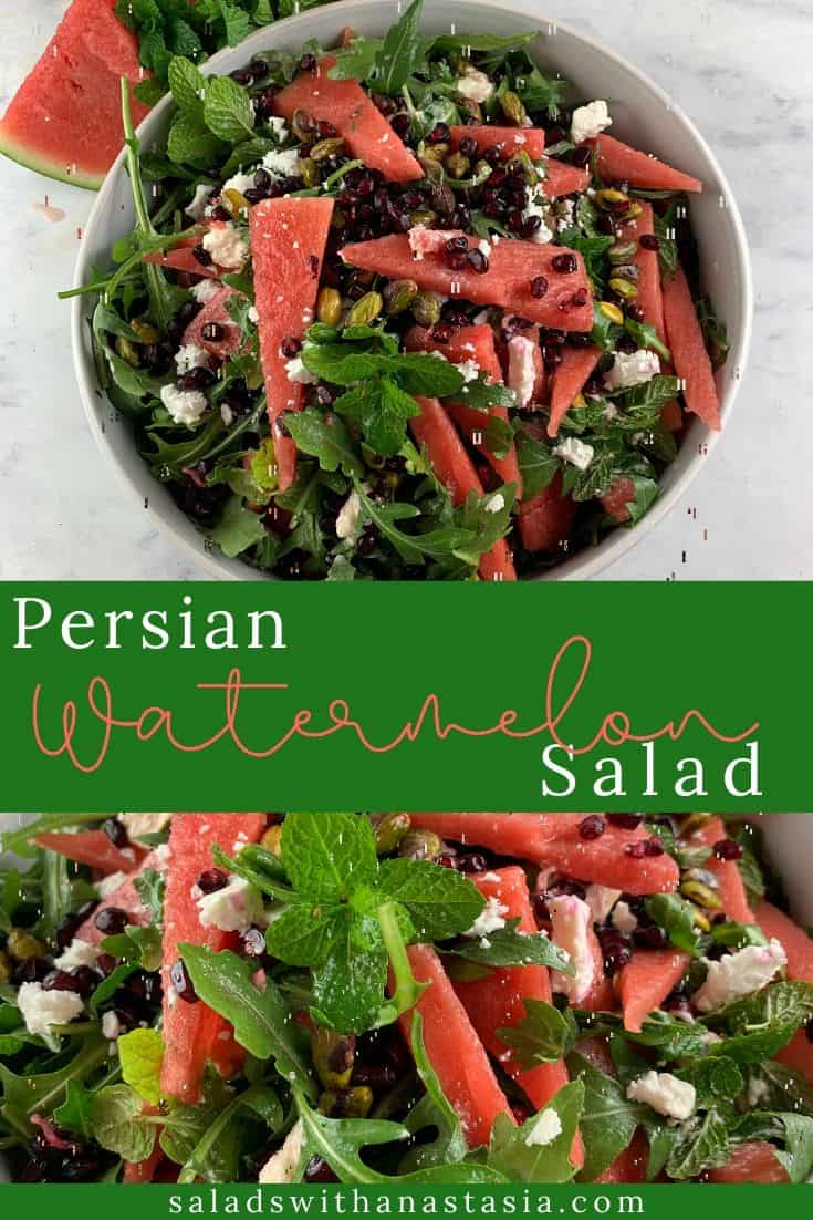PERSIAN WATERMELON & FETA SALAD IN A WHITE BOWL WITH WATERMELON SLICES & MINT ON THE SIDE WITH TEXT OVERLAY