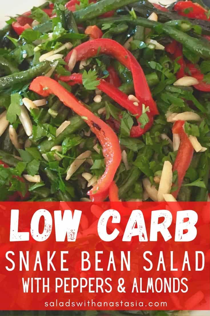 SNAKE BEANS WITH & RED CAPSICUM AND ALMONDS WITH TEXT OVERLAY