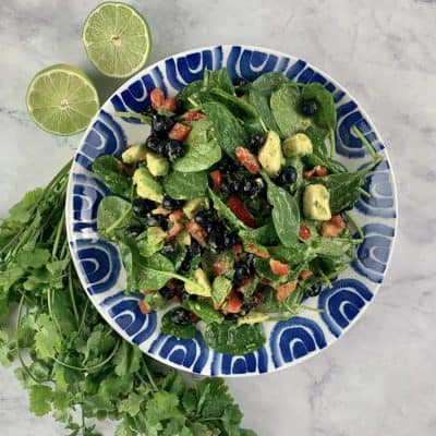 SPINACH BLUEBERRY SALAD ON BLUE & WHITE PLATTER WITH LIMES & CILANTRO