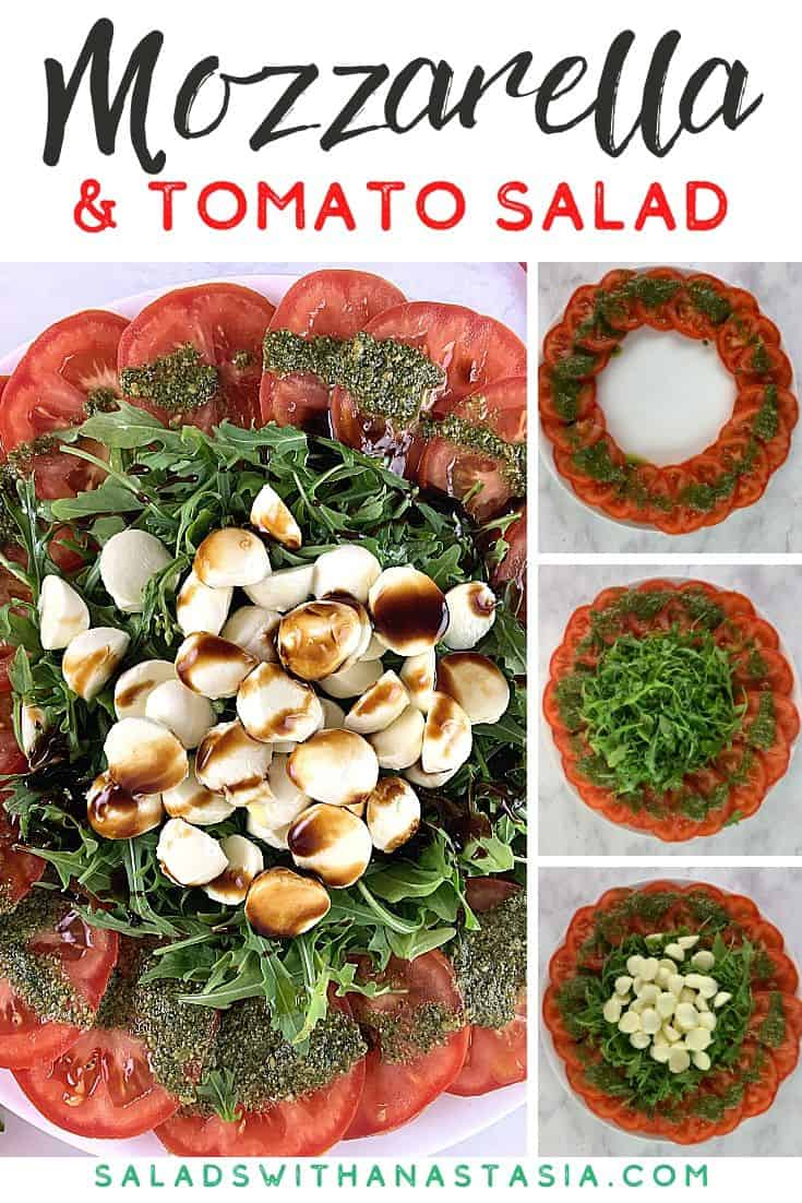 TOMATO MOZZARELLA SALAD WITH STICKY BALSAMIC WITH TEXT OVERLAY