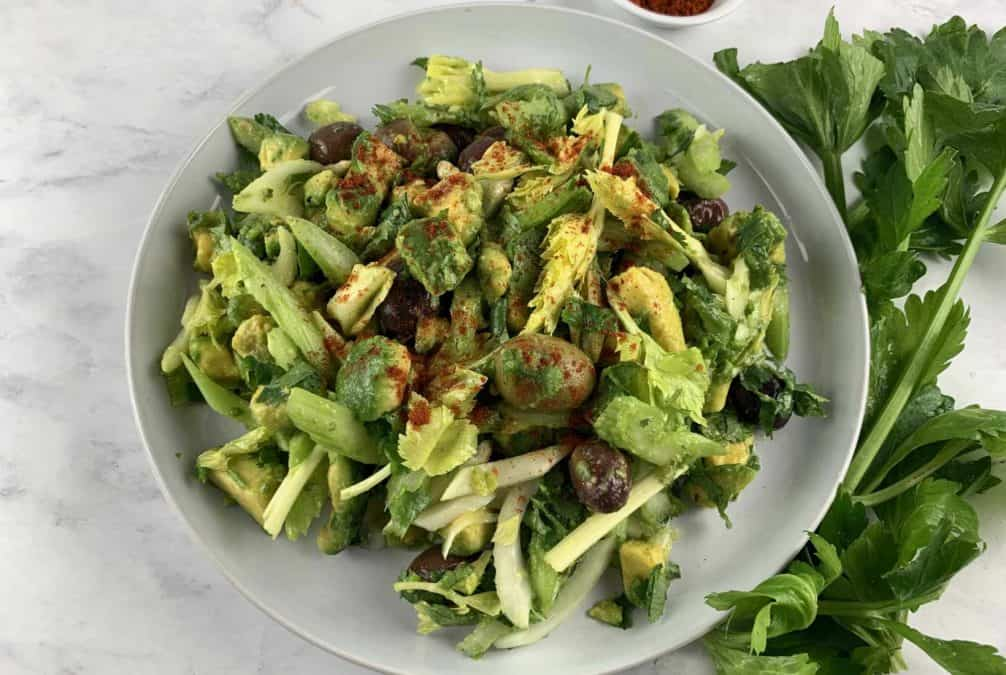 VEGAN CELERY SALAD IN LANDSCAPE VIEW