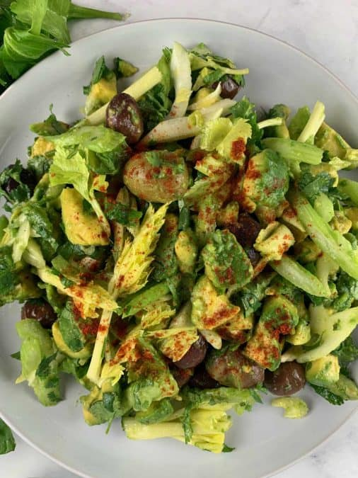 CLOSE UP OF VEGAN CELERY SALAD IN PORTRAIT VIEW