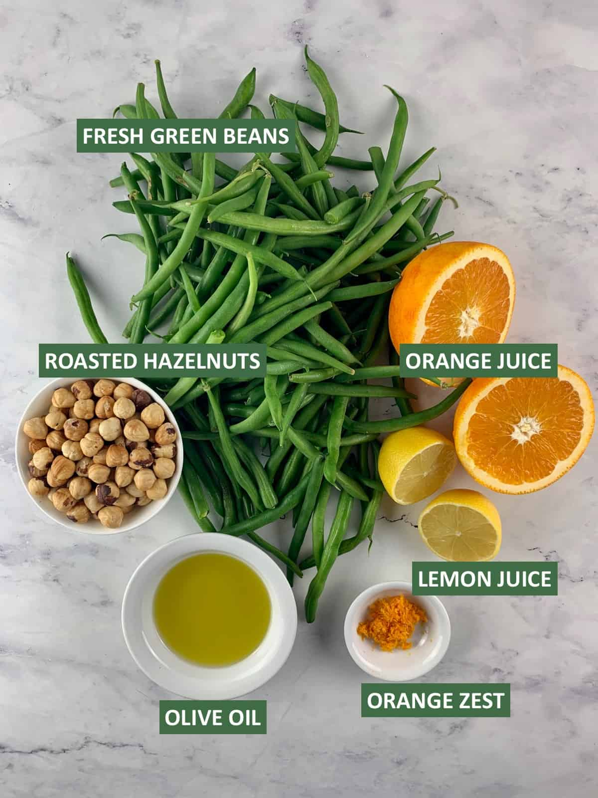 GREEN BEAN SALAD INGREDIENTS WITH TEXT