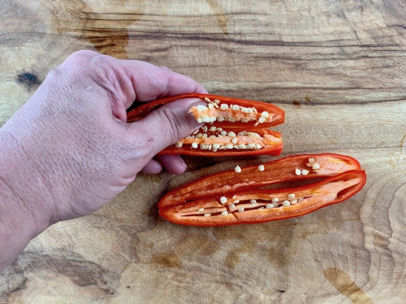 REMOVING SEEDS FROM CHILLI