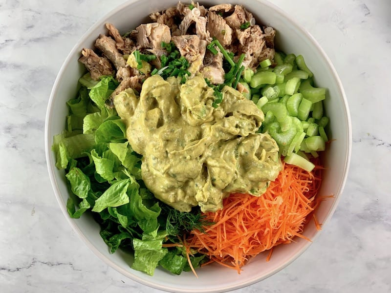 SPOONING AVOCADO RANCH DRESSING ON CANNED SALMON SALAD