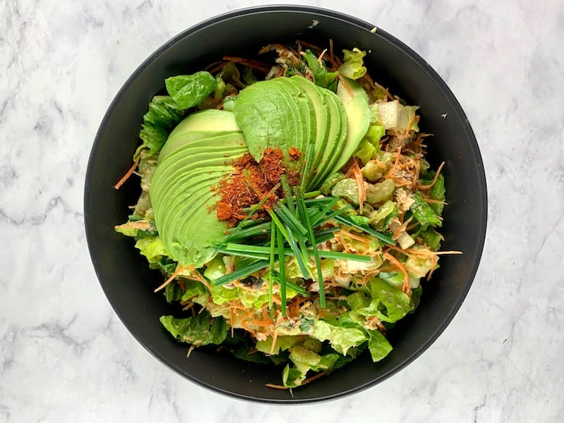 CANNED SALMON SALAD WITH AVOCADO FAN GARNISH, CHIVES & CAJUN SPICES