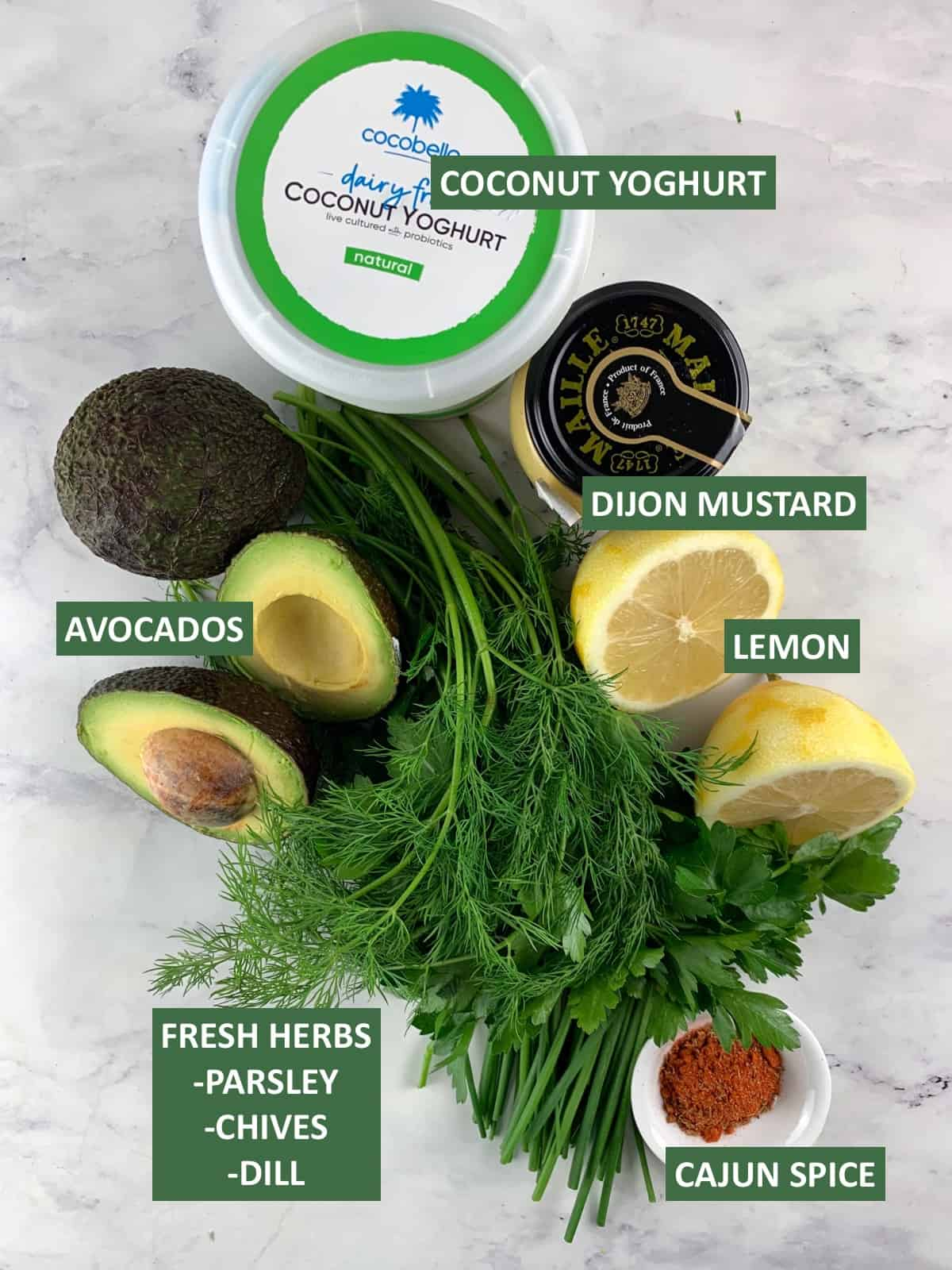 AVOCADO RANCH DRESSING INGREDIENTS WITH TEXT