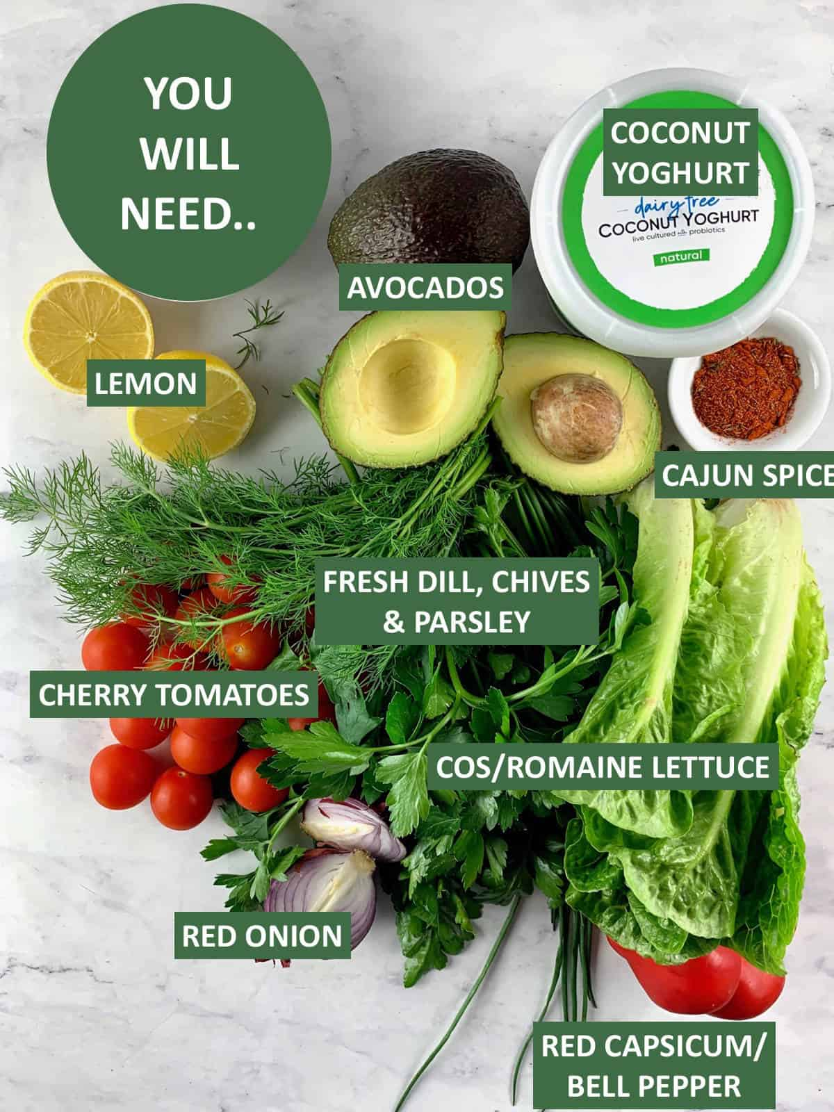 AVOCADO RANCH SALAD INGREDIENTS WITH TEXT