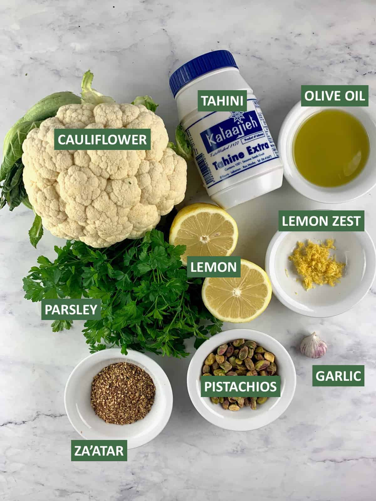 INGREDIENTS FOR MAKING CAULIFLOWER TAHINI WITH TEXT OVERLAY