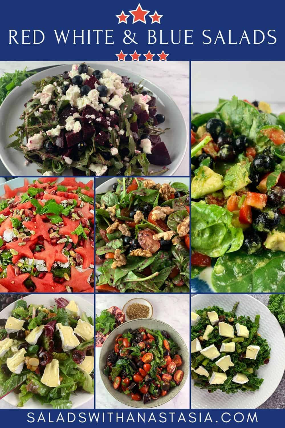 RED WHITE & BLUE SALAD COLLECTION WITH TEXT OVERLAY