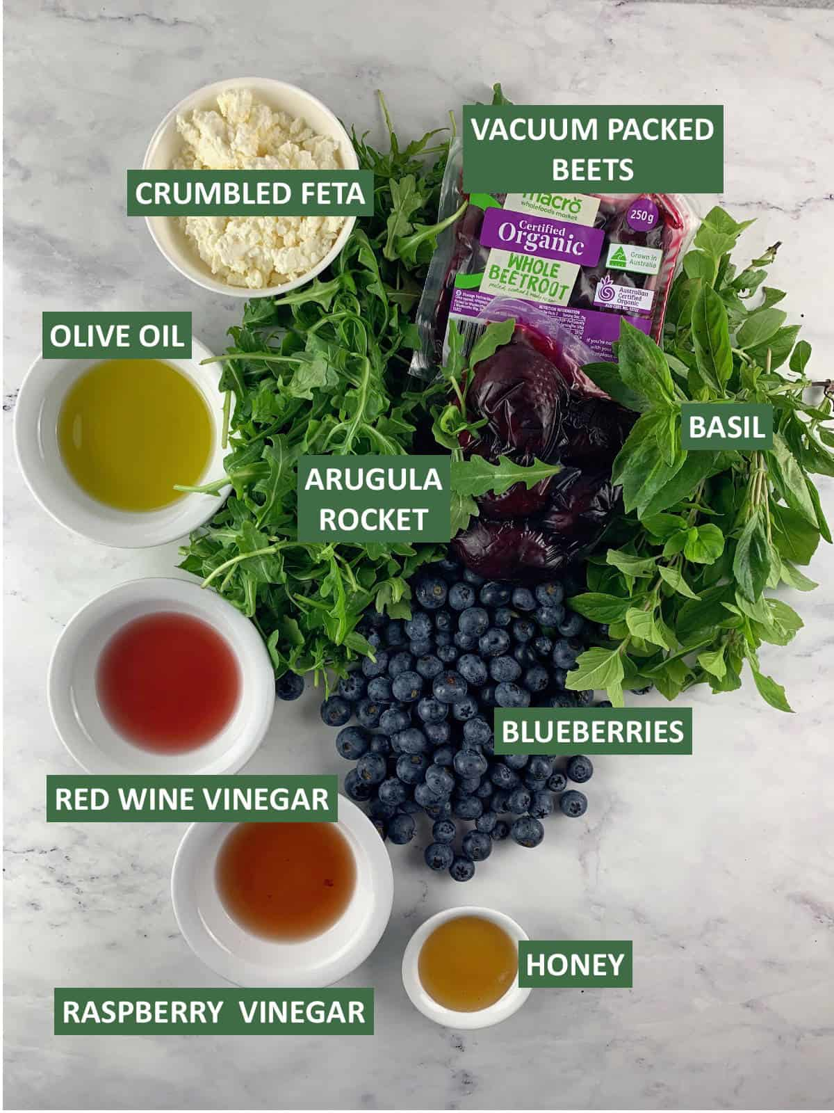 RED WHITE AND BLUE SALAD INGREDIENTS WITH TEXT